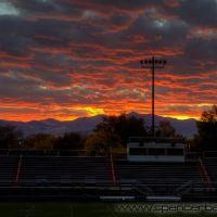 sunset from murray high school football field bleachers, Муррей
