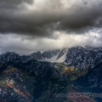 fall color and snow on lone peak, Санди