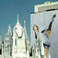 2002 Olympic building wrap with Mormon temple, Солт-Лейк-Сити