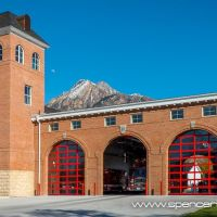 holladay fire station with mount olympus and moon, Холладей
