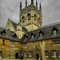 Ages old buildings and Chapeltower of Merton College. Oxford., Оксфорд