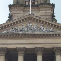 front carvings on town hall, Bolton, Болтон