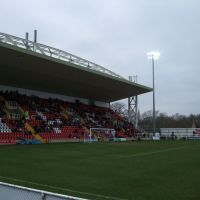 Woking Football Clubs Kingfield Ground, main stand, Вокинг