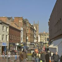 Derby; Cornmarket towards cathedral, Дерби