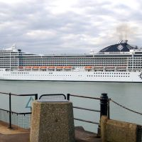 MSC Poesia Cruise Ship at CT2, Admiralty Pier, Western Docks, Dover Harbour, Kent, UK, Дувр