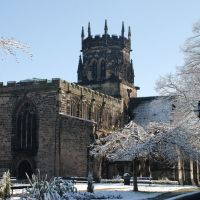 St Marys in the snow, Stafford, Стаффорд