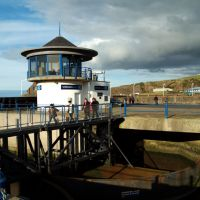 Marina gate control room and inner gate. Whitehaven, Cumbria, Уайтхейен