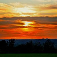 Red Sunset - View from Higher Poynton towards Fiddlers Ferry, Хазел-Гров