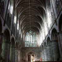 Vault above the nave inside Hereford Cathedral, Hereford, Herefordshire, England, Херефорд