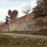 Hereford, remains of town wall towards river, Херефорд
