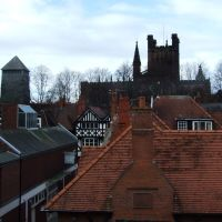 Chester Cathedral (C13th) and Bell Tower (1974) from Tescos car-park, Честер