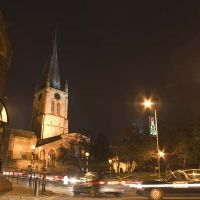 The Crooked Spire and Chesterfield Museum, December evening, Честерфилд