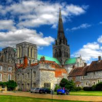 Chichester Cathedral from Front of Bishops Palace., Чичестер