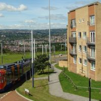 Supertram at Norfolk Park 1, Sheffield S2, Шеффилд
