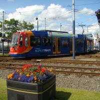 Halfway bound Supertram at Park Square, Sheffield S2/S1, Шеффилд