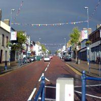 rainbow over street in Bangor, Бангор