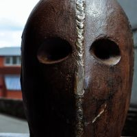 Northern Ireland. Derry~Londonderry. Antony Gormley: Sculpture for Derry Walls - at least the head of it., Лондондерри