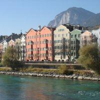 Palazzi del lungofiume Inn a Innsbruck - Austria, Инсбрук