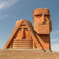 """The symbol of Artsakh – the statue """"We and our mountains"""", Stepanakert town, Nagorno-Karabah Republic, Степанокерт"""
