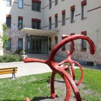 Modern szobor a kollégium bejáratánál - Dunai vasszamurájok Alkotó: Farkas Zsófia, Дунауйварош