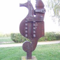 (lovaglás) acélszobrászat, Schéner Mihály: Csikóhalhuszár, Дунауйварош
