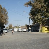 Chinese Mini-vans at Kolkhozabad main Street waiting for clients to Dushanbe, Колхозабад