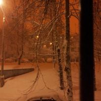 Dushanbe at night. Last snow., Айни