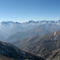 Panorama of Zarafshon ridge from Turkestan ridge. Tajikistan., Зафарабад