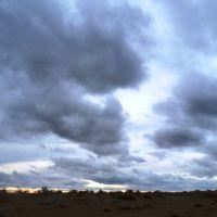 Karakum Desert in dusk, Небит-Даг