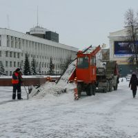 Snow shovellers - neverending work in russian winter, Уфра