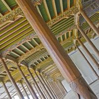Carved pillars and painted wooden ceiling in the Juma Mosque (Friday Mosque)., Коканд