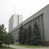 """Вид на горадминистрацию и гостиницу """"Маяк"""", Донецкая"""