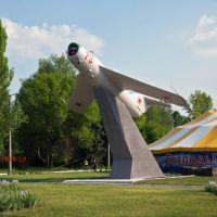 Monument Aircraft  MIG17PF  ul.Parkovaya. Памятник Самолет МИГ17ПФ ул.Парковая, Краматорск