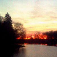 Ставок в парку Терещенків на сході сонця, Андрушевка