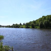 Horodnytsya. The view to the Sluch river and the bridge from the park., Городница