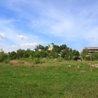 Horodnytsya. The view with the monastery and the ruins of the porcelain factory., Городница