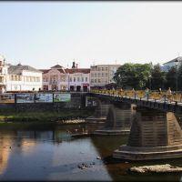 Вид на площадь Театральную и пешеходный мост, Ужгород