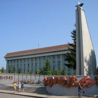 Памятник советским воинам и здание Рады, Хуст, Закарпатье, 2010, Хуст