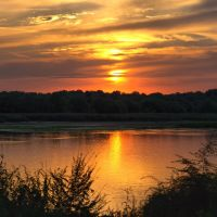 Sunset over one of branch Dnepr river/ Закат над одной из проток Днепра, Балабино