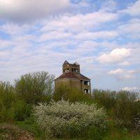 Заброшенное зернохранилище весной, Камыш-Заря