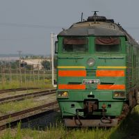 Diesel locomotive 2TE116-1516 on Kamysh-Zarya train station, Камыш-Заря