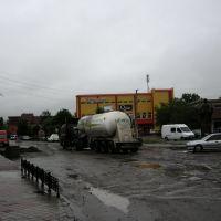 Hlavní tah procházející městečkem Zabolotiv. Díry byly mnohdy až 20 cm hluboké., Заболотов