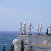 Фигуры соцреализма на крыше главного корпуса (санаторий Украина), Гаспра