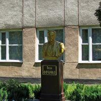Бюст И. Франко возле первой школы., Каменка-Бугская