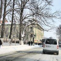Двухэтажный зелёный особняк на углу улиц Чайковского-Бандеры. Вид на северо-восток., Самбор