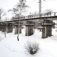 Панорама железнодорожного виадука, что вдоль Яблоньки в Турке ведёт в туннель. Вид на запад., Турка