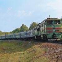 Тепловоз 2ТЭ116-891 с пассажирским поездом, перегон Гребенка - Пирятин, Гребенка