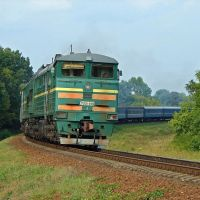 Тепловоз 2ТЭ10У-0486 с пассажирским поездом, Оржица