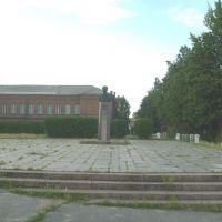 Пирятин- памятник Ремеслу и вдали школа №4, Пирятин