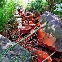 По древним гранитам бежит небольшой ручей,из-за обидия железа русло красного цвета, Клесов